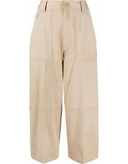Beige panelled cropped trousers
