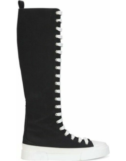Black knee-high lace-up sneakers