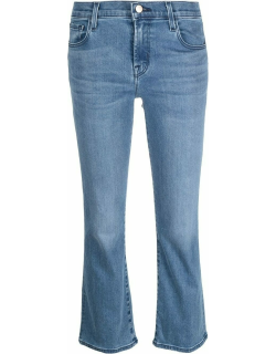 Blue cropped bootcut jeans