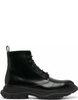 Black lace-up leather ankle boots