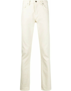 White mid-rise straight jeans