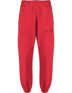 Red logo-embroidered track pants