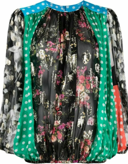 Long-sleeved patchwork chiffon blouse