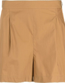 Brown pleat detail tailored shorts