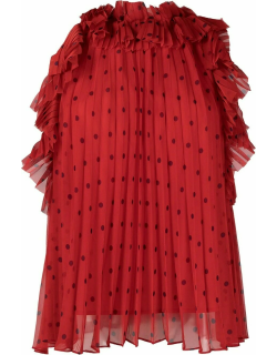Red ruffled pleated blouse