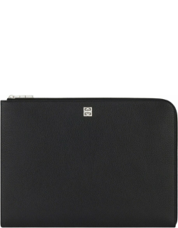 Large black gusset pouch in grained leather