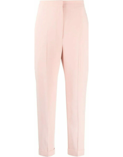 Pink high-waisted cropped tailored pants