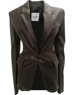Brown leather pin single-breasted jacket