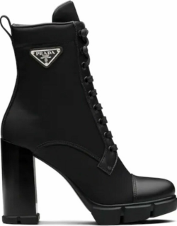 Black leather and nylon fabric booties