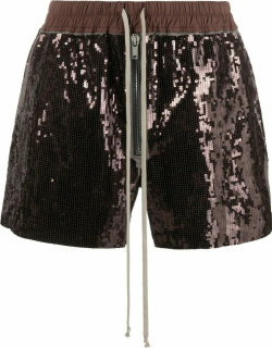 Brown sequin-detailing track shorts