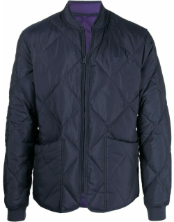 Blue quilted down bomber jacket