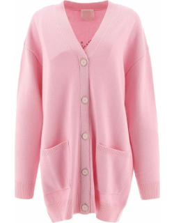 Pink wool and cashmere studded cardigan