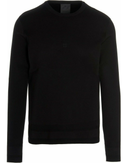 Black silk sweater with logo embroidery