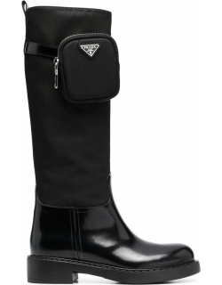 Black high boots with logo