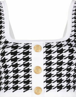 Black and white houndstooth cropped knit top