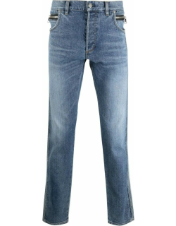 Blue embossed-logo tapered jeans