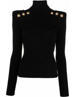 Black knit sweater with gold-tone buttons