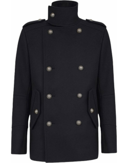 Blue wool military pea coat with double-breasted silver-tone buttoned fastening