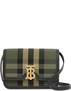Small check military green canvas and Leather TB Bag
