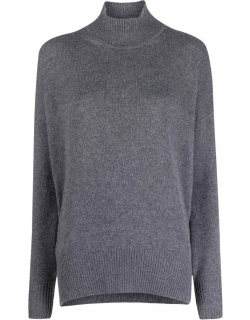 Grey roll neck cashmere sweater
