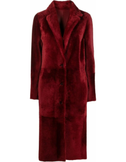 Red fur single breasted coat