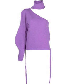 Purple one-shoulder knitted top