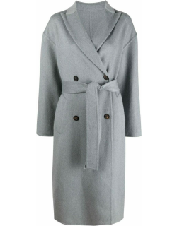 Grey cashmere double-breasted coat