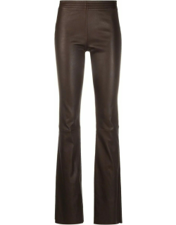 Brown straight-leg leather trousers