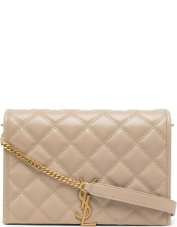 Becky mini chain bag in beige carré-quilted lambskin