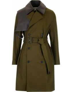 Military green cotton double breasted trench coat