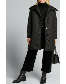 Diamond Quilted Collared Coat