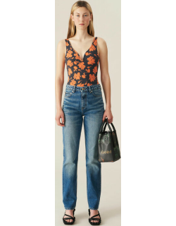 Washed Denim High-waisted Straight Jeans
