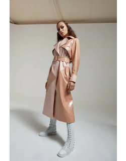 Geo Patent Leather Trenchcoat in Nude PRITCH London.com
