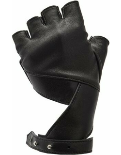 Leather Fingerless Gloves in Pitch Black PRITCH London.com