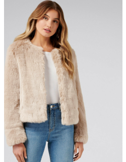 Forever New Women's Angel Cropped Faux Fur Coat in Nude,