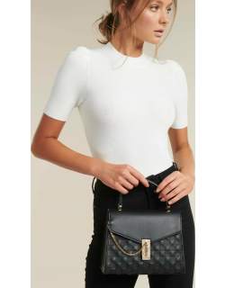 Forever New Women's Poppy Chain Lock Top Handle Bag in Black PU/Polyester