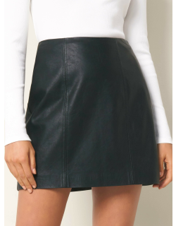 Forever New Women's Peyton Seamed Faux Leather Mini Skirt in Black,
