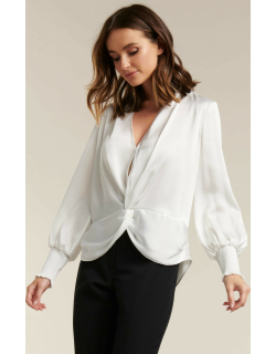 Forever New Women's Cynthia Satin Twist Blouse in Porcelain,