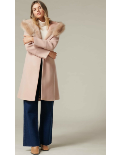 Forever New Women's Bianca Hooded Wrap Coat in Soft Oatmeal,