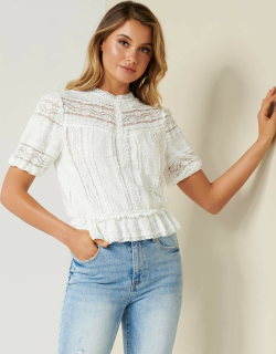 Forever New Women's Amy Lace peplum blouse in Porcelain,