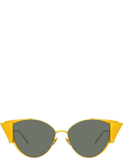 Carrie Cat Eye Sunglasses in Yellow Gold