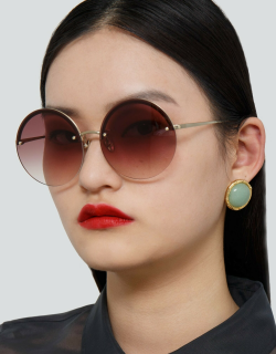 Adrienne Round Sunglasses in Light Gold and Burgundy