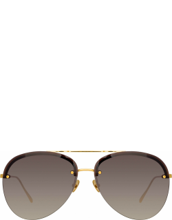 Dee Aviator Sunglasses in Yellow Gold and Grey