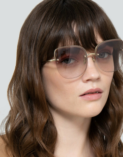 Loni Cat Eye Sunglasses in Light Gold and Blue