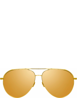 Roberts Aviator Sunglasses in Yellow Gold and Gold Lenses