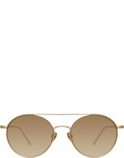 Dustin Round Sunglasses in Light Gold and Mocha