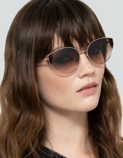 Liv Cat Eye Sunglasses in Light Gold and Brown