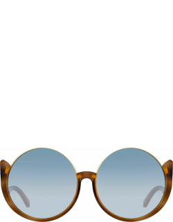 Florence Round Sunglasses in Horn and Blue