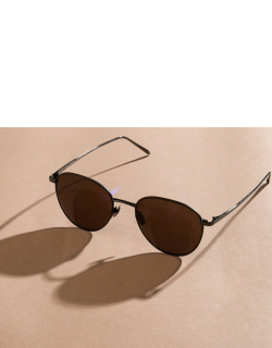Raif Square Sunglasses in Nickel and Brown
