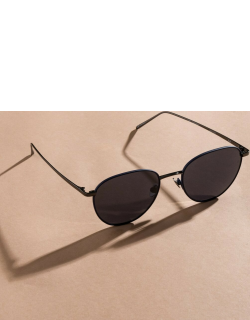 Raif Square Sunglasses in Nickel and Navy